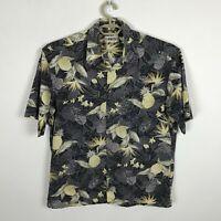 Campia Moda Hawaiian Shirt Mens Size L Floral Pineapples Gray Gold Short Sleeve