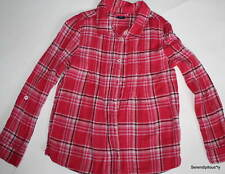 EUC Gap Kids Snow Brights Pintuck Plaid Shirt Bright Claret M 8
