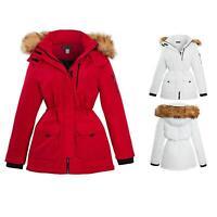 Shelikes Ladies Ski Longline Jacket Padded Parka Faux Fur Hood Hooded Coat Size