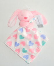 New Carters Pink Bunny Hearts Baby Security Blanket White Blue Green P65