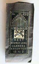 1870's Redditch England Needles - Lewis & Baylis - Double Long Darners, Assorted
