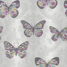 Arthouse milieu de l'été motif damas floral motif papillon pailleté Papier peint