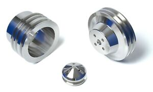 Small Block Ford V-Belt Pulley Kit 289 302 351W - Early SBF Water Pumps, 3 Bolt