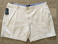 CHAPS Big Mens Size 46 B 46B Stone Beige Casual Shorts Flat Front 100% Cotton