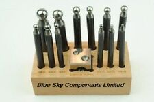 12 Steel Dapping Punches With Doming Block On Wooden Base Jewellery Metalwork