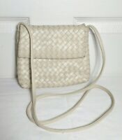 ASPECTS BY LISETTE WOMEN'S CROSSBODY PURSE IVORY WOVEN LEATHER HANDBAG