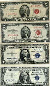 1953-A & 1963 $2, 1935-A & 1957-B GEM CU $1 SILVER CERTIFICATES!!..STARTS @ 2.99