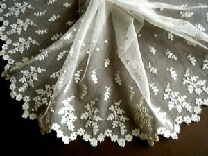 Old Brussels lace scarf  Emb/ered needle lace floral design on mesh Europe