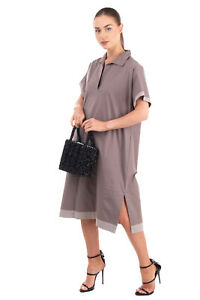 RRP€325 PME PESERICO Shift Dress Size 44 / M Melange Trim Made in Italy