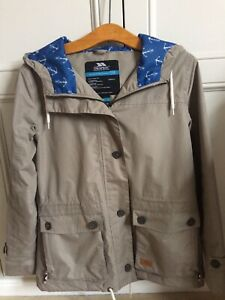 Trespass Womens Khaki Jacket Hooded Waterproof Blue White Anchor Lining M