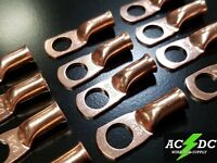 """(5) 6 gauge Ring 3/8"""" Hole Terminal BATTERY Lug Bare Copper Un-insulated AWG"""