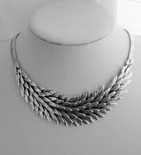 Modern Antiqued Silver layered Leaf Design Statement Necklace & Flat Snake Chain