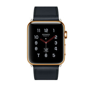 Series 6 Hermes Apple Watch Single Tour Noir 24K Gold Plated 44mm RARE Custom