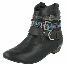 Ladies COCO High Stacked Heel and Platform Ankle BOOTS L8627 Black 6 UK Standard