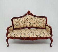Vintage Mahogany Upholstered Floral Sofa Dollhouse Miniature 1:12