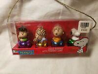 Peanuts Set of 4 Snoopy Linus  Charlie Lucy Jingle Bell  Buddies   Pendants