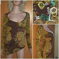 DESIGUAL tunic blouse long sleeve Neckline multicolor Abstraction. Size S