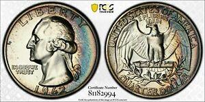 1962 USA SILVER WASHINGTON QUARTER PCGS PR66 PROOF NICE COLOR UNC TONED (DR)