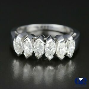 Natural 1.45 Ct Marquise Diamond Anniversary Ring & Wedding Band 14K White Gold