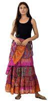 Recycled Wrap Around Skirts Women Beach Wear Indian Vintage Umbrella Silk Skirt