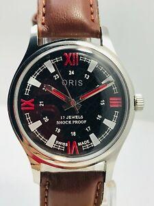 Oris Black Dial Hand winding men's wrist watch FHF movement ST-96 Swiss Made