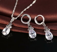 Water Drop Locket Necklace 925 Sterling Silver Jewelry Pendant Earring Set Gift