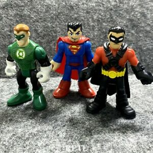 3x Fisher Price Imaginext DC Super Friends Green Lantern Red Robin Superman Toys