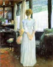 Oil painting julian alden weir - in the livingroom young lady by window canvas