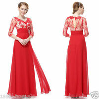 Lace 3/4 Sleeve Long Evening Prom Party Wedding Gown Dress Size 10-18 UK NO45