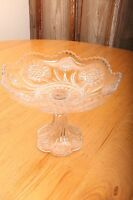 Vintage Glass Compote With Flower Pattern Candy Dish