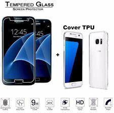 Pellicola vetro temperato per Samsung Galaxy S7 + Cover TPU Trasparente Slim