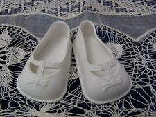 "2.25"" long 1.5"" w Vintage 1970 Ideal Rubber Shoes Slip on White color Measures"