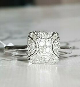 *LOVELY* .925 0.270CT DIAMOND ROUNDS/BAGUETTE CLUSTER RING