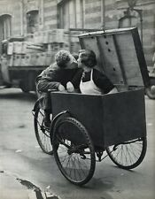 1955 Vintage ROBERT DOISNEAU Tricycle Love Young Couple Kiss Photo Art 16X20