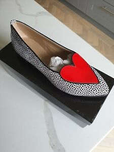 Nicola Sexton polka-dot with heart detail suede and leather pumps