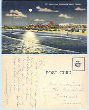 Aerial Night View Jacksonville Beach Florida 1938 Teich Postcard Roller Coaster