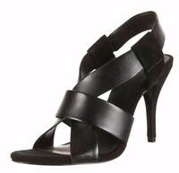 """ALEXANDER WANG BLACK """"LILIAN"""" LEATHER AND SUEDE HEELS NEW SIZE 8.5 (39.5)"""