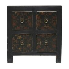 Oriental Distressed Black Golden Flower 4 Drawers End Table Nightstand cs5165