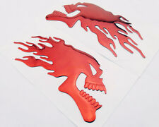 3D Flaming Skull/Devil Emblems Badge Decal Sticker Tank Fairing Fender Tail L/R