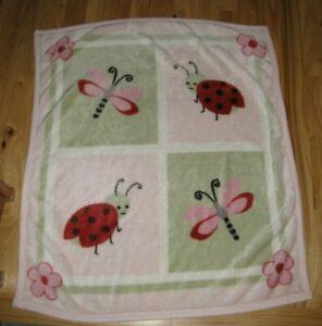 Kidsline Baby Girl Ladybug Dragonfly Acrylic Blanket Pink Flower Kids Line Green