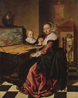 """high quality oil painting handpainted on canvas """" Woman playing the virginal. """""""