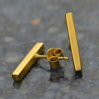 24k Gold Vermeil Modern Bar Stud Simple Bar Studs Post Earrings - Mom Wife Gift