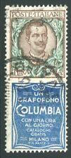 1924/5 Regno Pubblicitari Columbia 1 lira usato cert. Carraro