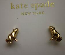 "Kate Spade New York ""PRINCE CHARMING"" RARE STUD EARRINGS MINI FROG GOLD CRYSTAL"