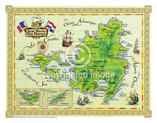 "19.5 x 25"" St. Martin Vintage Look Map Printed on Frenchtone Parchment Paper-GRN"
