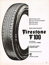 PUBLICITE ADVERTISING  1965   FIRESTONE F 100 pneu construction radiale