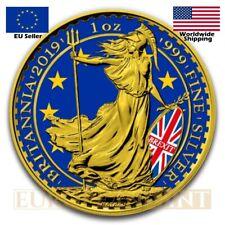 2019 1 oz UK Silver Britannia Brexit Colorized Gold Gilded Silver Coin Box & Coa