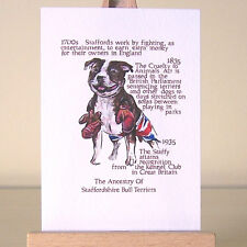 Staffordshire Bull Terrier History ACEO art card Staffies cartoon drawing