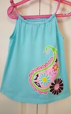 Hanna Andersson Baby Girl Blue Pillow Sundress 100% Cotton Size 80 10-24 months