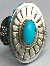 Navajo,Signed,Sleeping Beauty Turquoise,Native American Ring,Sterling Silver 925